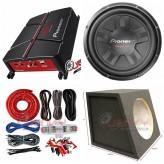 "COMBO Pioneer - GM-A3702 Amplifier + TS-311S4 12""Sub +Sub Box + ST8G Amp Kit"