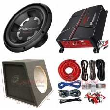 "COMBO Pioneer - GM-A3702 Amplifier + TS-300D4 12"" Sub +Sub Box + ST8G Amp Kit"