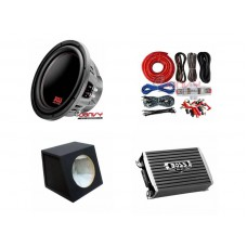 "COMBO BOSS - AR1500M Amplifier + P129DC 12"" Sub + Sub Box + BS42G Amp Kit"