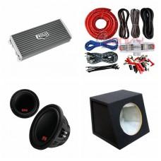 "COMBO BOSS - AR2500M Amplifier + P129DC 12""Sub + Sub Box + ST8G Amp Kit"