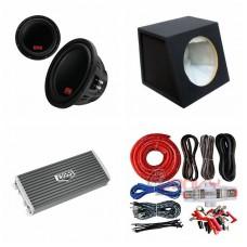 "COMBO BOSS - AR2500M Amplifier + P129DC 12"" Sub + Sub Boxed + BSK2 Amp Kit"