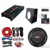"""COMBO Cerwin-Vega - H71000.2 Amplifier + HS104D 10""""Sub +Sub Box + ST8G Amp Kit"""