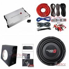 COMBO Cerwin-Vega - XED71000.1M Amplifier + VPS122D Sub + Sub Box + ST8G Amp Kit