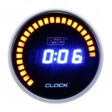 "AUTOGAUGE 2"" DIGITAL CLOCK BLUE LED & 30 AMBER LED"