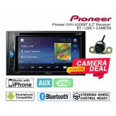 """Combo Pioneer - AVH-A205BT 6.2"""" Receiver with DVD Bluetooth USB + Camera"""