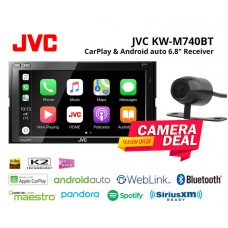 "Combo JVC - KW-M740BT 6.8"" Bluetooth Receiver CarPlay Android auto + Camera"