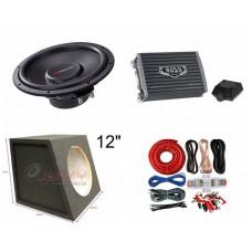 "Combo Nakamichi - AR1200.2 Amplifier + NS-W125 12""Sub + Sub Box + ST8G Amp Kit"