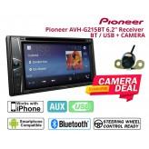 Combo Pioneer - AVH-G215BT 6.2' Double Din DVD Bluetooth 7 EQ USB + Camera