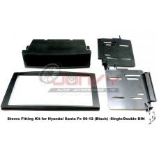 Stereo Fitting Kit for Hyundai Santa Fe 06-12 (Black) -Single/Double DIN