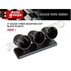 "AUTOGAUGE 2"" GAUGE Triple Mounting Cup (Black)"