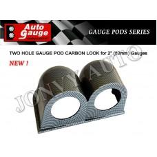 AUTOGAUGE CARBON LOOK 52MM GAUGE POD - DOUBLE