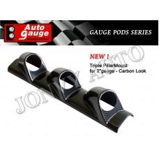 """Autogauge Triple Pillar Mount for 2"""" gauge Carbon"""